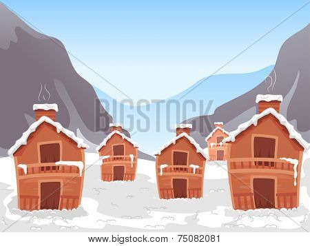 Illustration Featuring a Ski Village