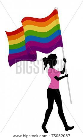 Illustration Featuring the Silhouette of a Woman Carrying a Gay Pride Flag