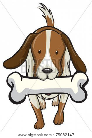 illustration of a dog biting a bone