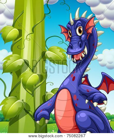 illustration of a dragon and a beanstalk