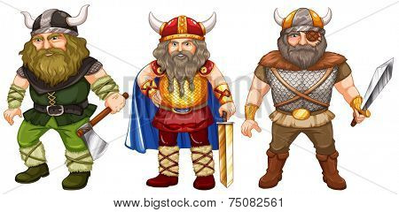 illustration of a set of male warriors