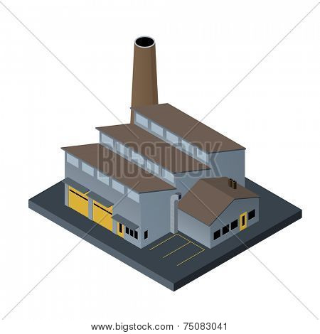 Factory building in isometric projection on white background