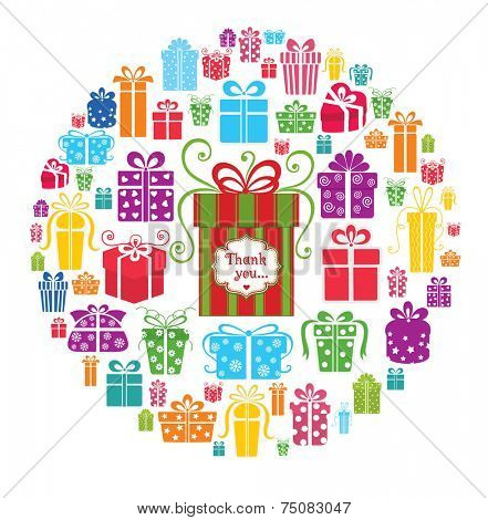 Colorful vector gift boxes in the circle.