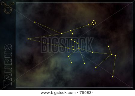 Zodiac constellation - Taurus. Stars on the Nebula like background