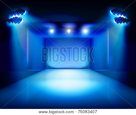 Stage with runway. Vector illustration.