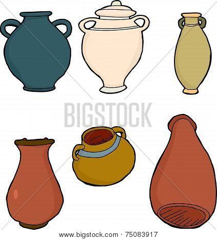 Various Clay Vases
