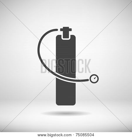 Scuba diving aqualung in modern flat design. Diver equipment icon. Vector illustration