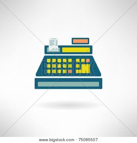 Cashier counter in modern flat design. Supermarket register icon. Vector illustration