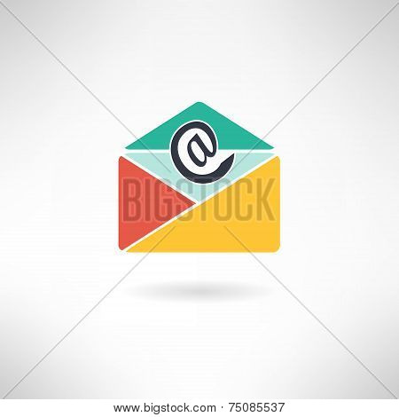 Internet mail in modern flat design. E-mail icon. Vector illustration