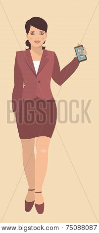 Young Woman Holding A Mobile Phone.eps