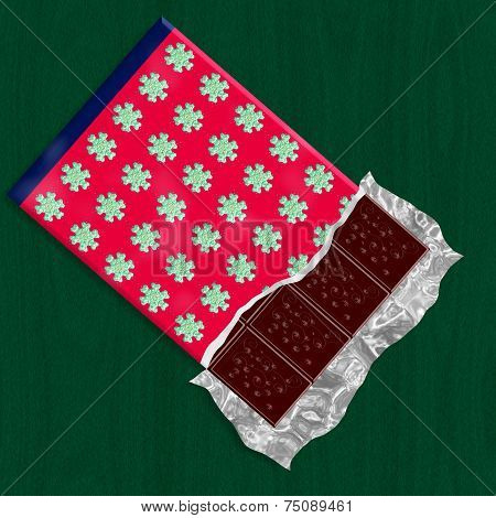 Dark chocolate in unwraped packing with christmas decorative pattern