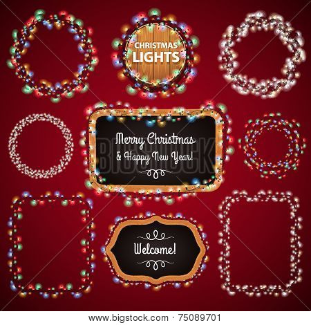 Christmas Lights Frames With A Copy Space
