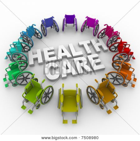 Wheelchairs In Ring Around Health Care Words
