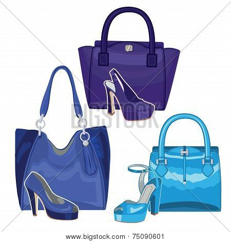 Fashionable blue handbag and shoes. Three set