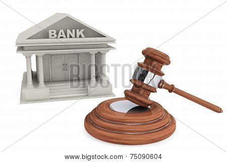 Bank Building And Judges Court Gavel