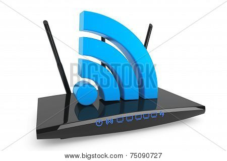 3D Modern Wifi Router With Wifi Sign