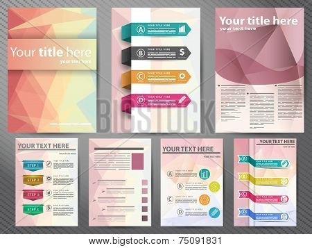 Template Design Brochures, Flyers In Polygon Style. Design For Your Business.