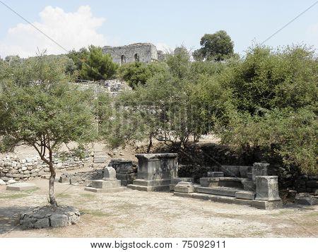 Exedra to Nymphaeum in ancient city Caunos.