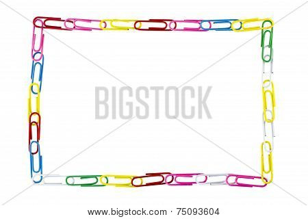 Paper Clips Frame On White Background