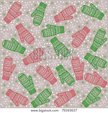Christmas Background Mittens Kids
