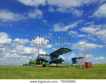 Old Airplanes On Green Grass  Belgorod Oblast. Russia.