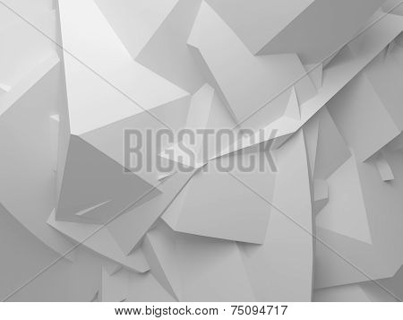 Abstract White Digital 3D Chaotic Polygonal Background