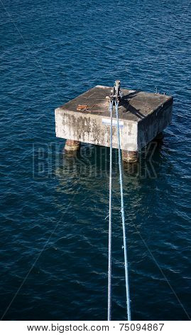 Blue Ropes Tied To Concrete Ship Mooring