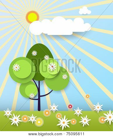 Abstract Paper Spring Card With Tree And Flower