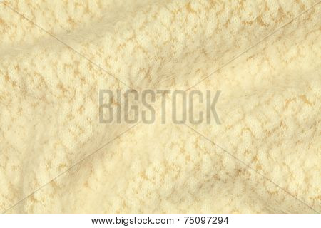 Light Yellow Crumpled Luxury Cashmere Background.
