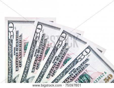 Four 50 US dollar notes. All on white background.