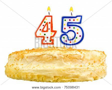 Birthday Cake Candles Number Forty Five Isolated
