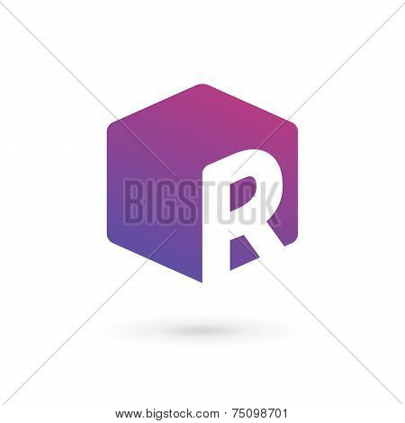 Letter R Cube Logo Icon Design Template Elements