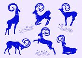 stock photo of disobedient  - Collection of stylized blue mountain goats - JPG