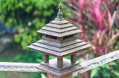 picture of balustrade  - Lamp balustrade Wooden Railing by Thailand style background out of focus - JPG