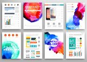 image of web template  - Set of Vector Poster Templates with Watercolor Paint Splash - JPG