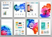 image of placard  - Set of Vector Poster Templates with Watercolor Paint Splash - JPG