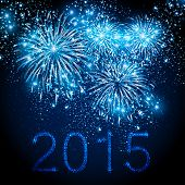 picture of occasion  - Happy New Year 2015 fireworks background - JPG
