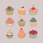 picture of cupcakes  - Set of 9 different delicious cupcakes vector illustration - JPG