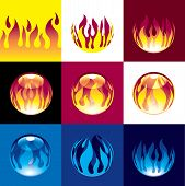 picture of fireball  - Horizontal seamless pattern of flame - JPG