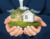 foto of levitation  - Hands holding beautiful small island with grass and tree and house levitating in the sky - JPG