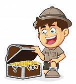 stock photo of boy scout  - Vector clipart picture of a Boy Scout or Explorer Boy cartoon character with a Treasure Chest - JPG