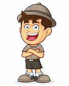 foto of boy scout  - Vector clipart picture of a Boy Scout or Explorer Boy cartoon character with Folded Hands - JPG