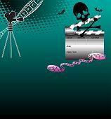 foto of skull crossbones  - Colorful illustration with black skull - JPG