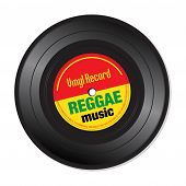 stock photo of reggae  - Isolated vinyl record with the text reggae music written on the record - JPG