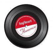pic of jukebox  - Isolated vinyl record with the text Flamenco written on the record - JPG