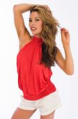 pic of halter-top  - Beautiful brown haired woman in a red halter top - JPG