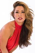 image of halter-top  - Beautiful brown haired woman in a red halter top - JPG