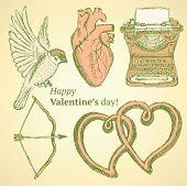 foto of longbow  - Sketch cute Valentine set in vintage style - JPG