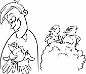 stock photo of proverb  - Black and White Cartoon Humor Concept Illustration of A Bird in the Hand is Worth Two in the Bush Saying or Proverb for Coloring Book - JPG