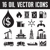 picture of oil derrick  - 16 oil industry vector icons for infographic - JPG